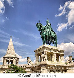 Fishermens bastion and statue of St Stephen in Budapest,...