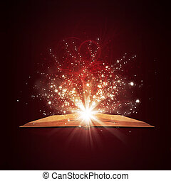 Old open book with magic light and falling stars Dark...