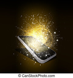 Smart phone with magic light and falling stars Dark...