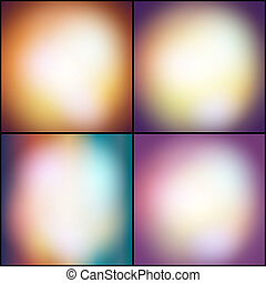 Abstract set of multicolored backgrounds, defocused lights...