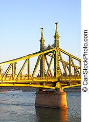 Liberty Bridge in Budapest at sundown, Hungary