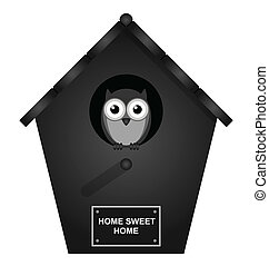 Birdhouse - Monochrome birdhouse isolated on white...