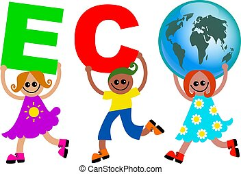 eco kids - A group of happy and diverse children holding up...
