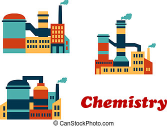 Colorful flat buildings of chemical factories or plants