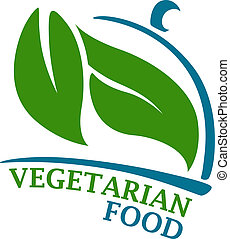 Vegetarian Restaurant symbol - Blue colored cloche...