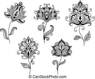 Black and white floral motifs in persian style - Ornate...
