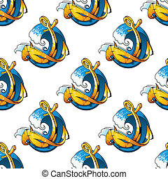 Nautical themed background seamless pattern with a curling...