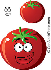 Ripe red cartoon tomato