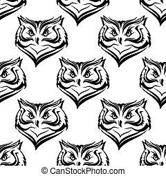 Seamless pattern of the head of a fierce owl