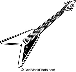 Electric guitar - Black and white colored electric guitar...