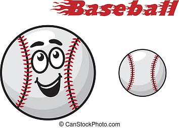 Baseball cartoon ball - Two baseballs, one with a happy...
