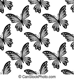 Black and white seamless pattern of butterflies - Black and...