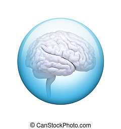 White brain. Spherical glossy button. Web element