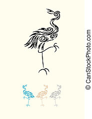Egret - Heron - Heron-Egret, art vector decoration.