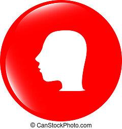 ボタン, アイコン, 頭, 考え