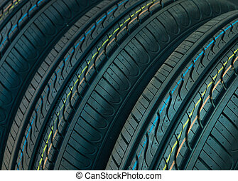 New Car tires profile background
