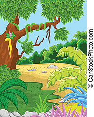 Natural forest background - vector illustration of Natural...