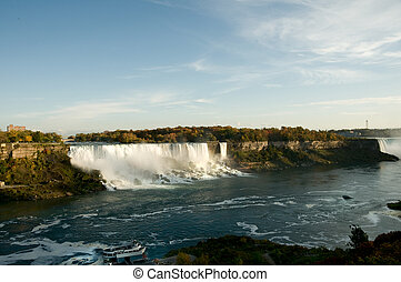 scenic view of Niagara falls and boat anchored