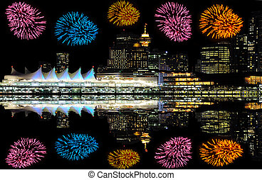Fireworks above Vancouver. - Fireworks above the center of...