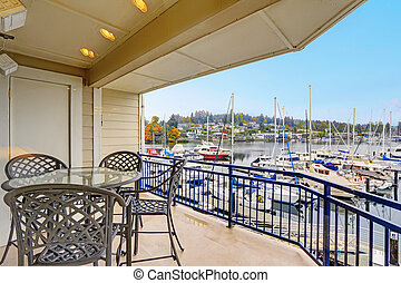 House with water front view - House with walkout deck...