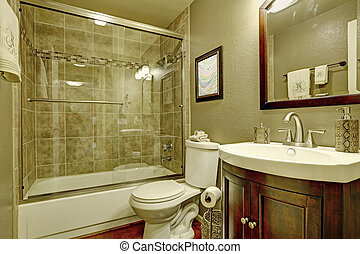Bathroom interior with glass shower