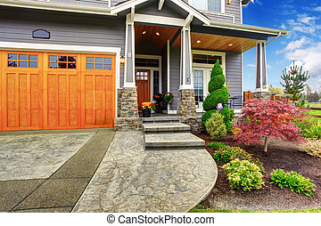 House exterior with curb appeal - Luxury house entrance...