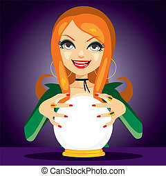 Magic Crystal Ball Fortune Teller - Beautiful red haired...