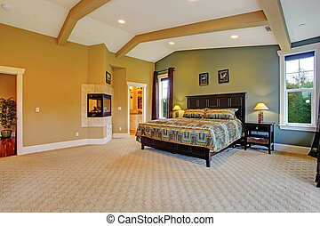 Master bedroom interior in luxury house - Spacious master...