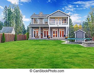 casa, vista, lujo,  exterior, traspatio