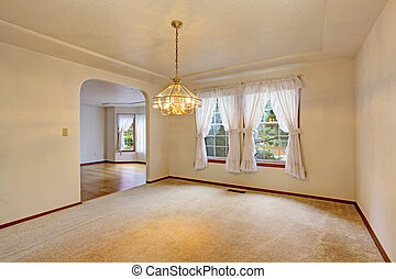 Empty living room in soft ivory