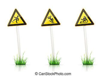 Traffic Sign – Warning - Warning Traffic Sign on White...