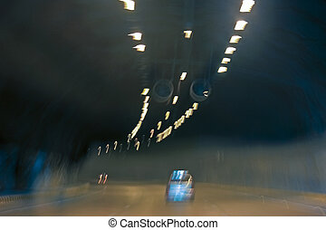 Road to the tunel at night