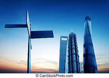 Shanghai Lujiazui Financial Center skyscraper - the modern...