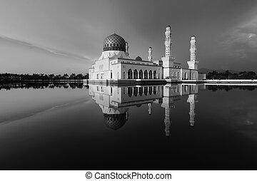 Kota Kinabalu city mosque in black and white, Sabah,...