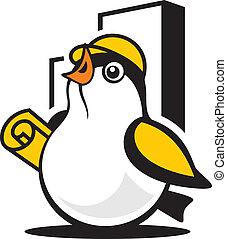 Bird construction sign - Branding corporate logo Isolated on...