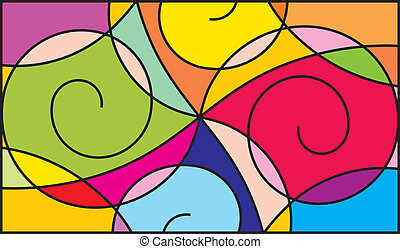 Colorful pattern - Stained glass window for interior...