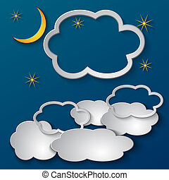 Vector abstract paper collage illustration of night sky with clouds  and place for text