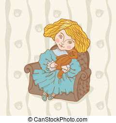Girl sitting in chair with her tedd