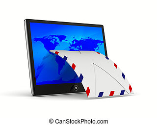 tablet and envelope on white background. Isolated 3D image