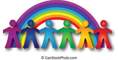 Children around rainbow logo