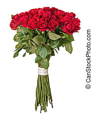 Colorful flower bouquet from red roses isolated on white...