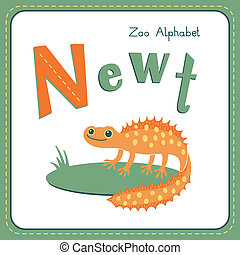 Letter N - Newt Alphabet with cute animals Vector...