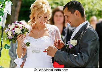 bello, scambio, coppia, anelli, giovane, matrimonio