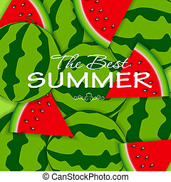Abstract Natural Summer Background with Watermelon Vector...