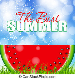 abstratos, natural, verão, fundo, melancia, vetorial,...