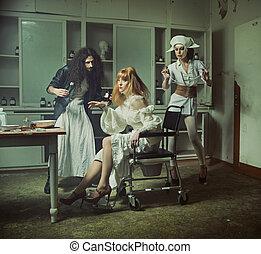 besatt, sjukhus, gammal,  Operation, kuslig