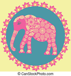 Elephant background in vintage colors, vector illustration...