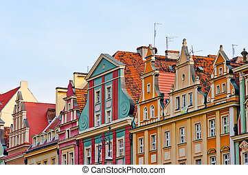 Tenement houses and blue sky