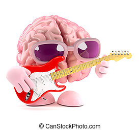 3d Brain is learning to play electric guitar - 3d render of...
