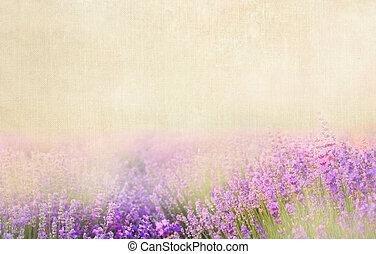 Lavender cotton. - Lavender textile image over canvas...
